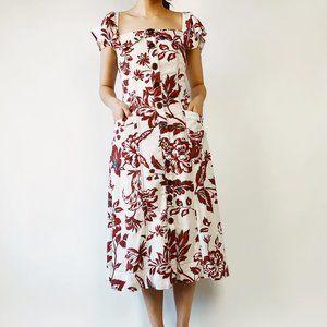 Maroon floral square neck off shoulder dress